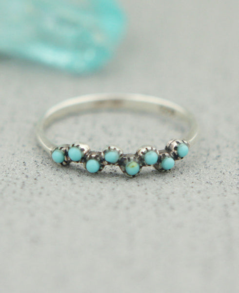 Blue Buds Sterling Silver and Turquoise Ring, Thailand
