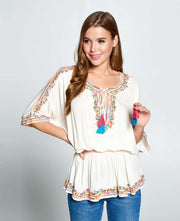 Boho Chip Embroidered top