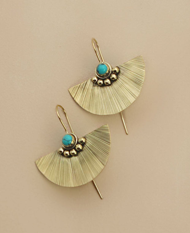 Brass Fan Earrings