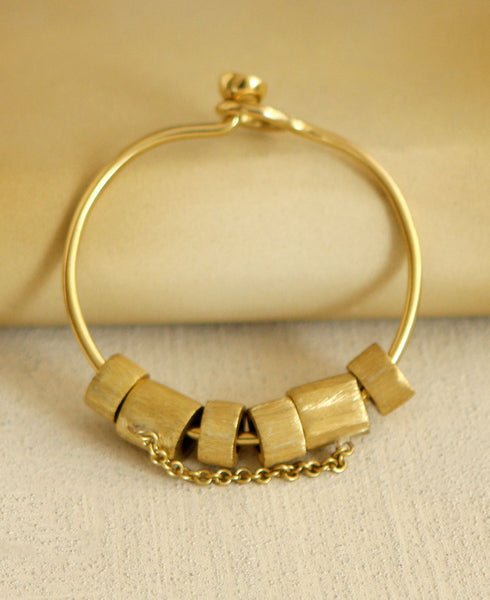 Fair Trade Cylinder Bead Brass Bracelet, Kenya