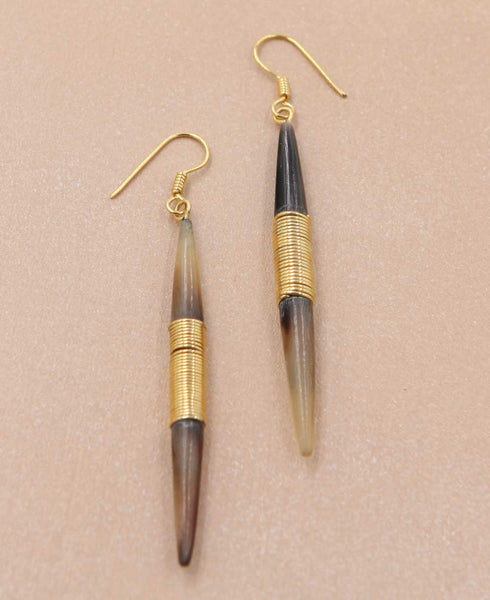Brass Wire Spike Earrings
