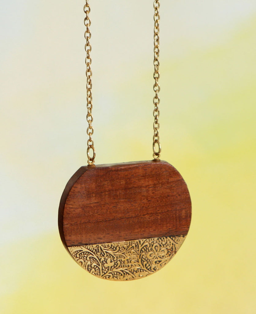 Earth and Sun Wood Medallion Necklace with Brass, India