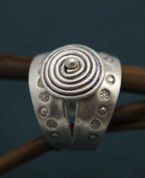 Hill Tribe Silver Bullseye Ring