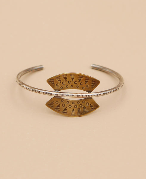 Thai Sun Brass and Silver Cuff, USA