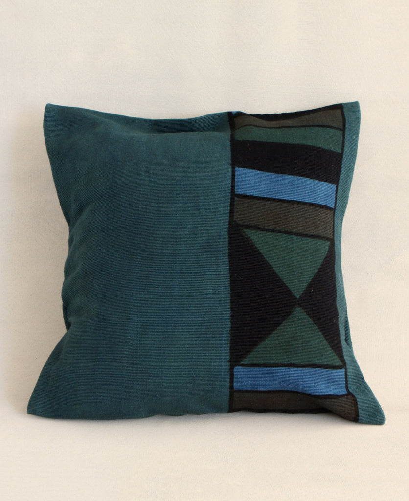 Geometric Mudcloth Pillow in Teal