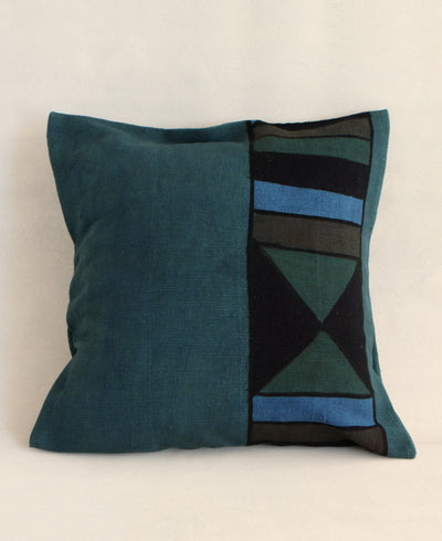 Geometric Mud Cloth Pillow in Teal