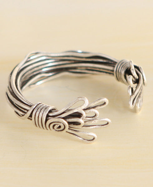 Fire and Flame Turkish Bundle Bracelet, Pewter