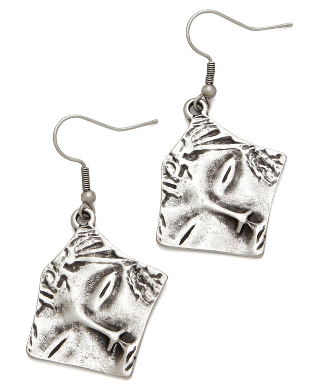 Pewter Face Earrings