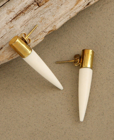 Cap and Quill Brass Earrings