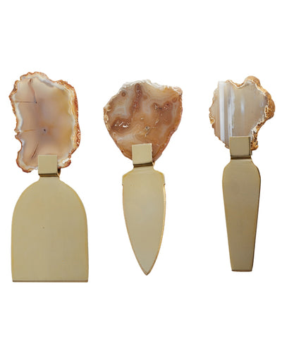 Agate Gemstone Cheese Knife Set, India