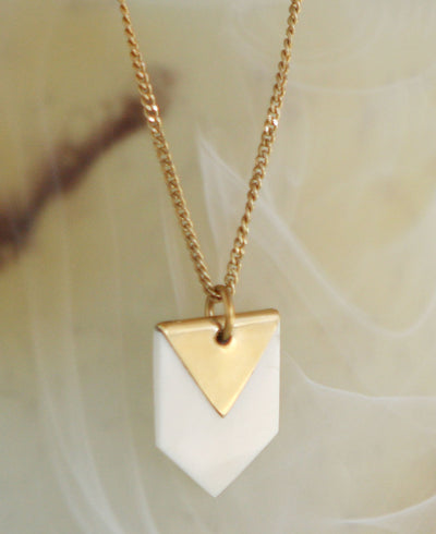 Maasai Brass Triangle and Chevron Pendant Necklace