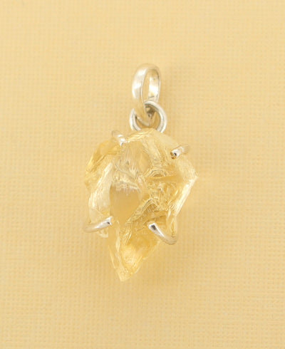 Raw Cut Citrine Pendant
