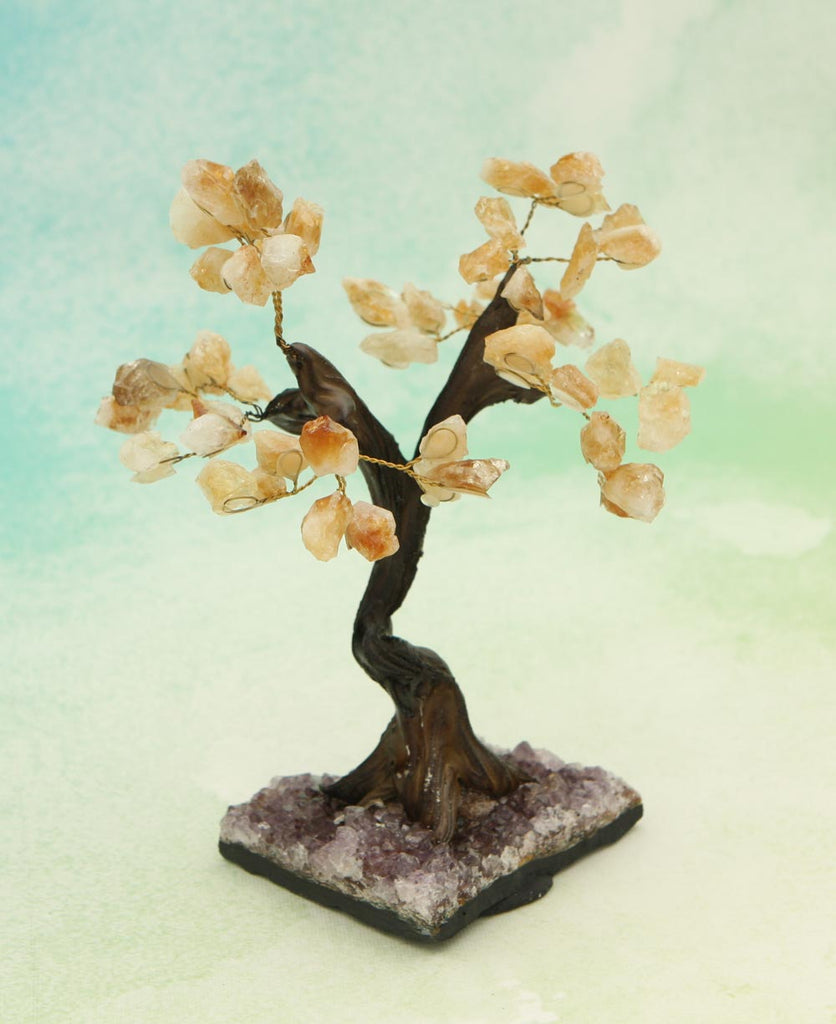 Citrine and Amethyst Gemstone Bonsai Tree