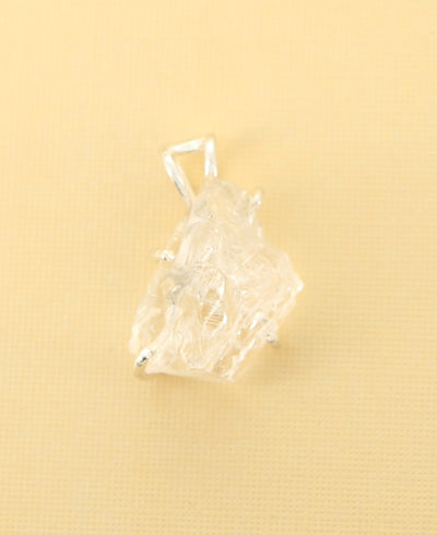 Raw Cut Clear Quartz Pendant