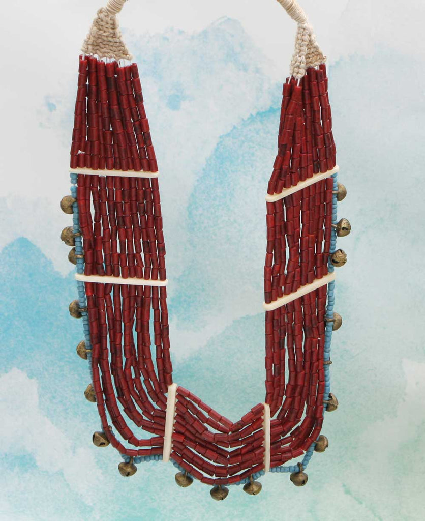 Crimson Bead Tribal Necklace