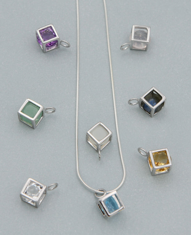 Gemstone Cube Pendants