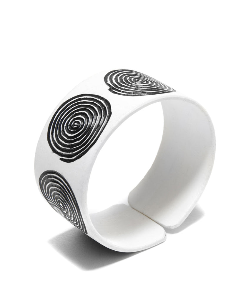 Namibian Swirl Black and White Recycled Cuff Bracelet