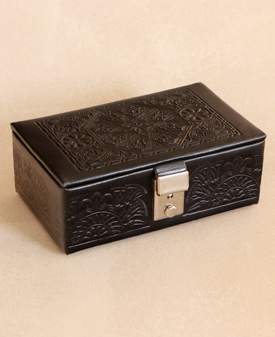 Egyptian Embossed Black Leather Jewelry Box