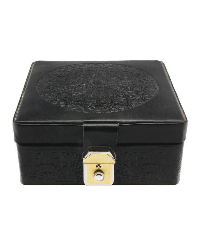Egyptian Leather Arabesque Jewelry Box in Jet Black
