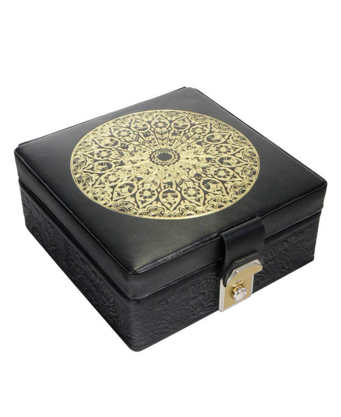 Egyptian Leather Arabesque Jewelry Box in Gold