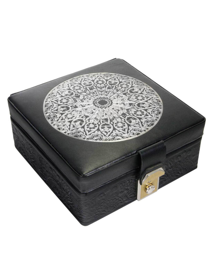 Egyptian Leather Arabesque Jewelry Box in Silver