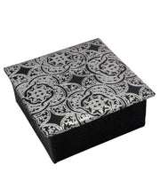 Egyptian Leather Jewelry Box in Silver Arabesque
