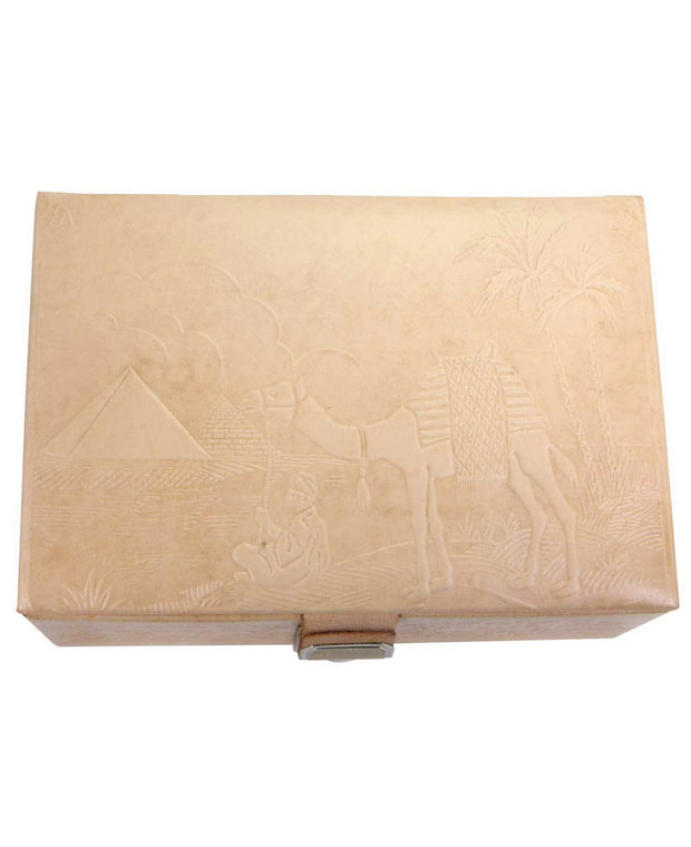 Egyptian Embossed Jewelry Box in Natural Leather