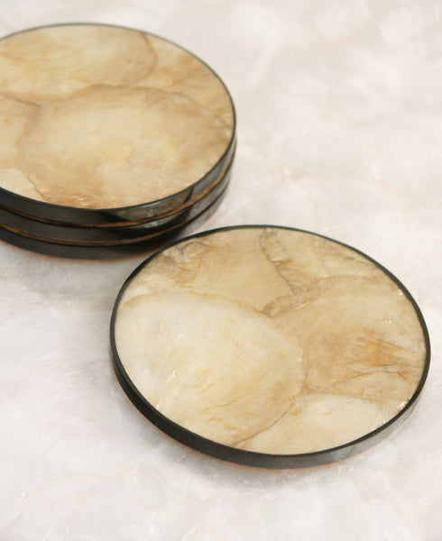 Golden Sun Capiz Shell Drink Coasters, Set of 4