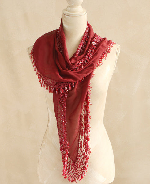 Burgundy Beaded Egyptian Shawl and Hip Scarf
