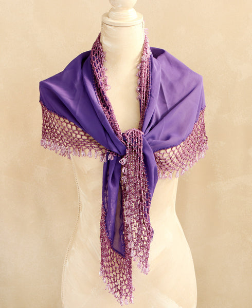 Purpled Beaded Egyptian Shawl and Hip Scarf