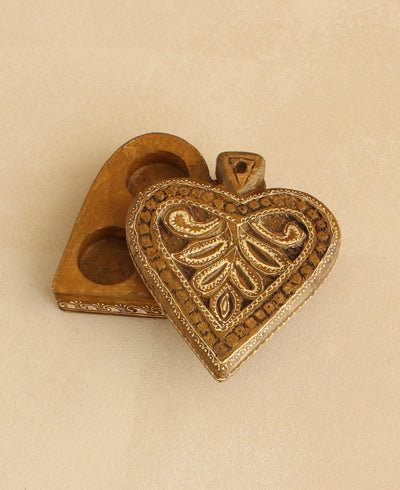 Paisley Sweethearts Hand Carved Heart Tealight Holder