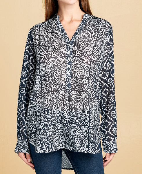 Prints and Patterns Navy Tunic Blouse
