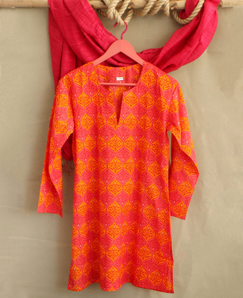 Pink and Orange Indian Floral Kurta Top, India