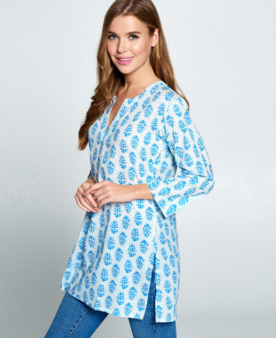Blue and white tunic