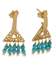 Turquoise Bead Triangle Earrings, Brazil