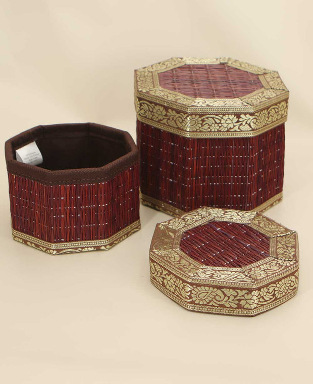 Set of Two Decorative Seagrass Geometric Boxes, Fair Trade