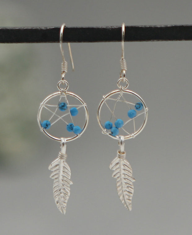 Blue Dreamcatcher Earrings