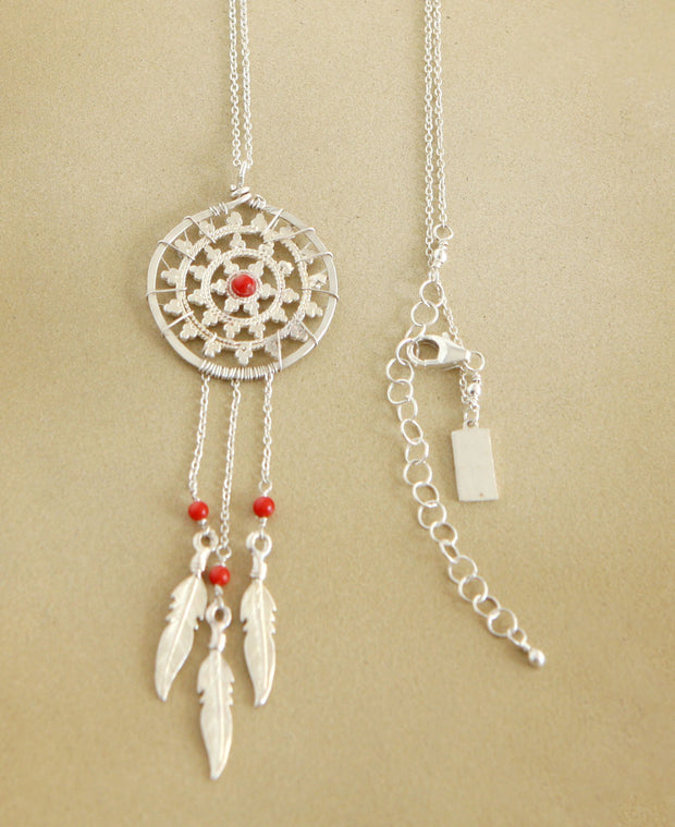 Sterling Dreamcatcher Necklace With Gemstones, USA