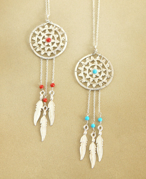 Sterling Dream Catcher Necklace With Gemstones, USA