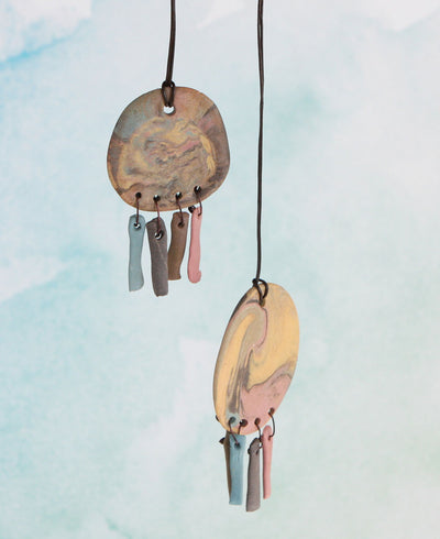 Handmade Ceramic Dreamcatcher Pendant Necklace, India