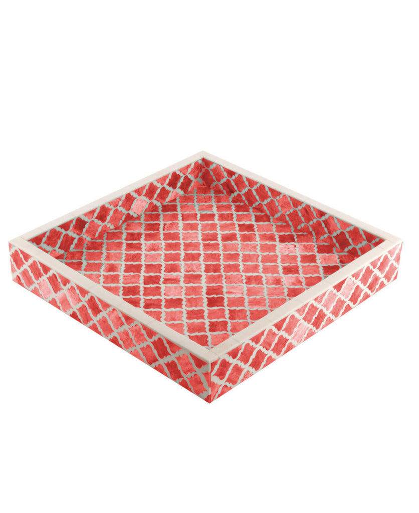 Moorish Mosaic Coral Serving Tray, India