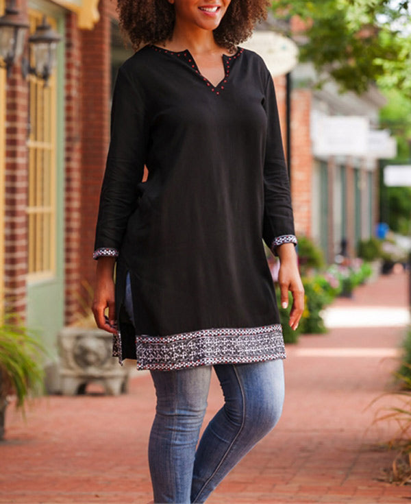 Embroidered Black Tunic