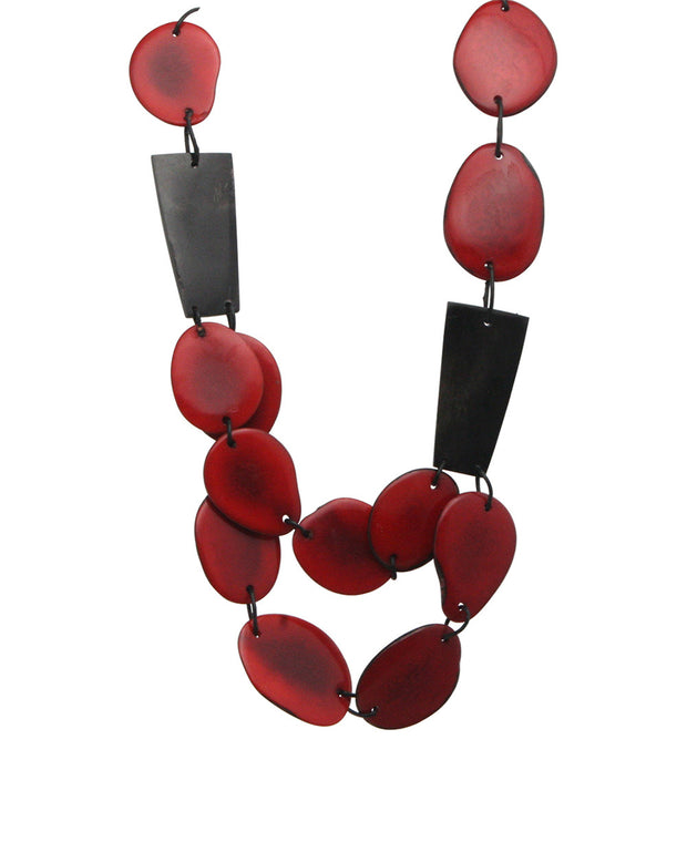 Cherry Red Ecuadorian Horn and Tagua Necklace