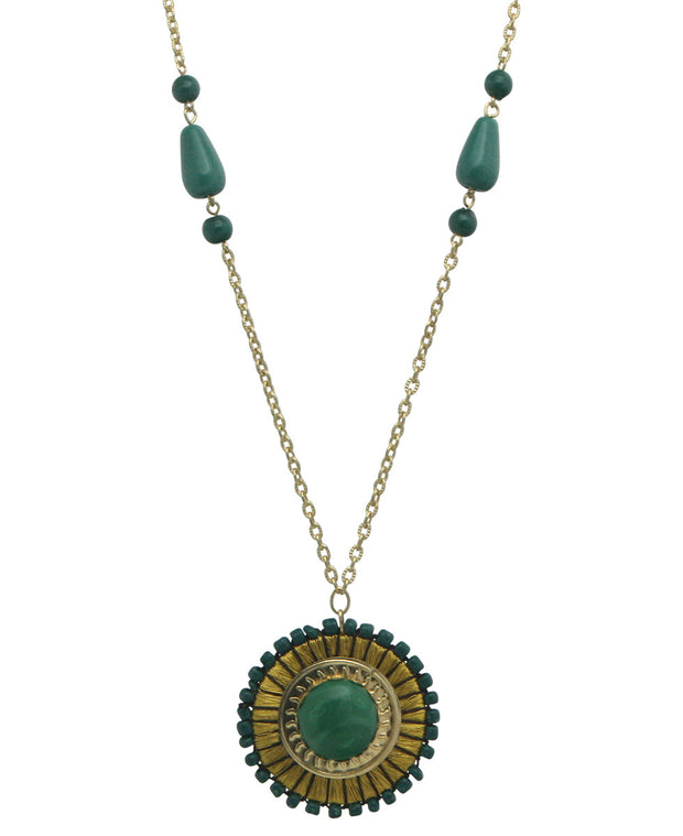 Golden Medallion Pendant Necklace, India