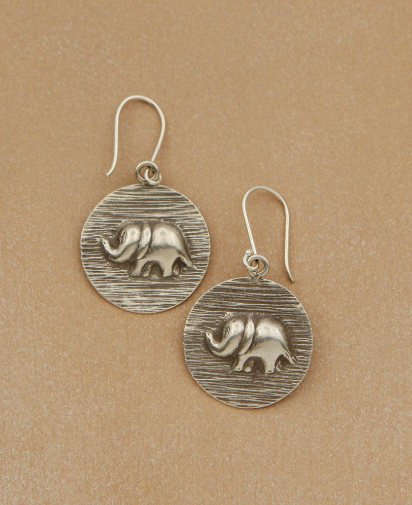 Thai Silver Elephant Relief Earrings