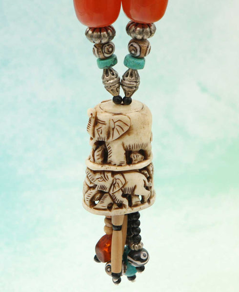 Hand Carved Tibetan Elephant Necklace