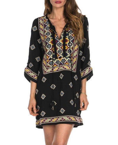 Embroidered Black and Multicolor Tunic Dress, India