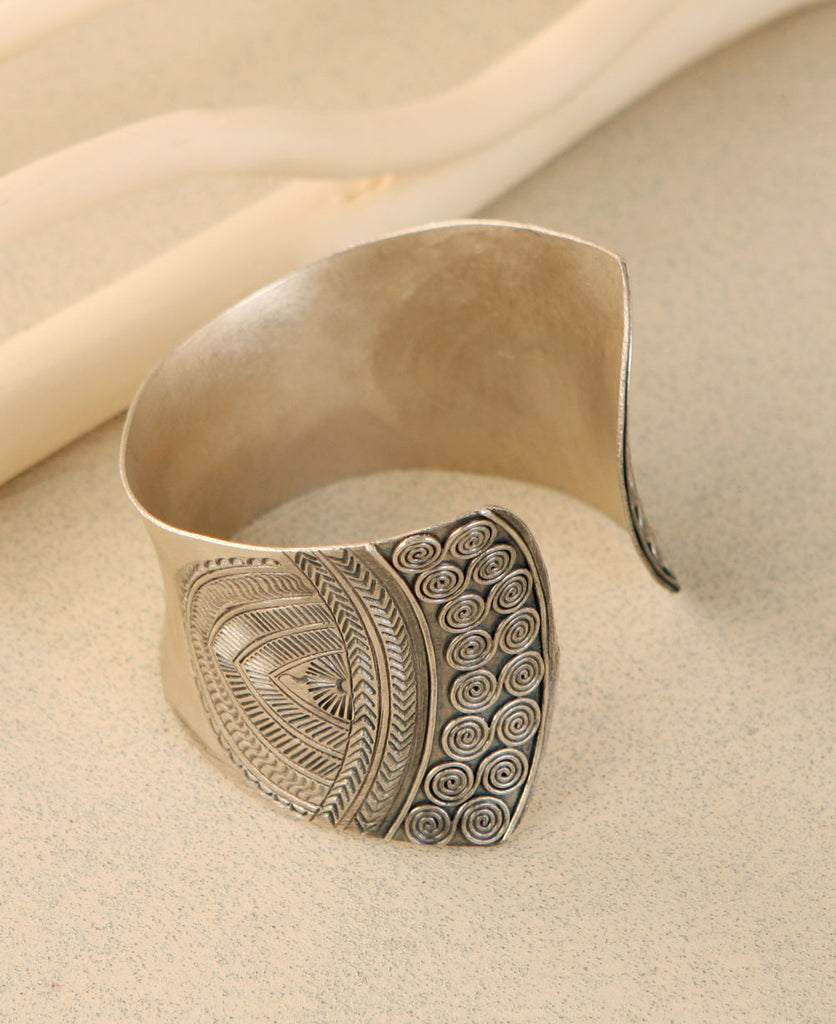 Etched Hill Tribe Cuff Bracelet