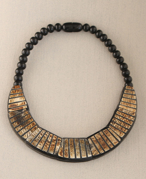 Grasslands Bib Necklace with Etched Horn