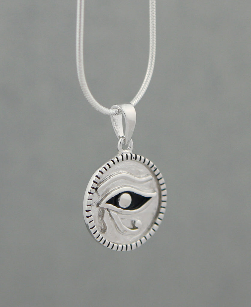 Eye of Horus Sterling Silver Relief Pendant